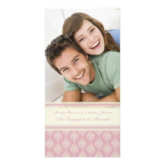 Engagement Announcement Photo Card Pink Cream
