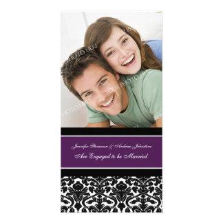 Engagement Announcement Photo Card Plum Damask
