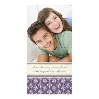 Engagement Announcement Photo Card Purple Cream