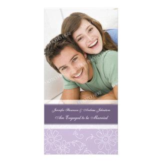 Engagement Announcement Photo Card Purple Floral