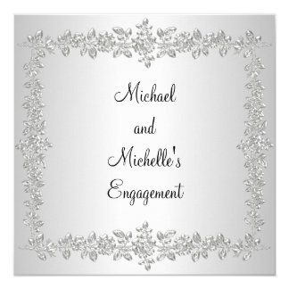 Engagement Black White Silver Metal Roses Card