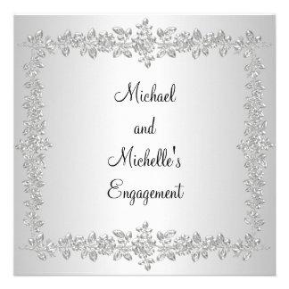 Engagement Black White Silver Metal Roses Invites