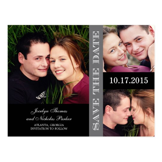 Engagement Collage Save The Date Announcement Postcard