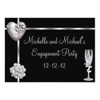 Engagement Elegant Black Silver White Flower 13 Cm X 18 Cm Invitation Card