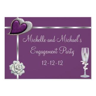 Engagement Elegant Plum Silver White Flower 13 Cm X 18 Cm Invitation Card