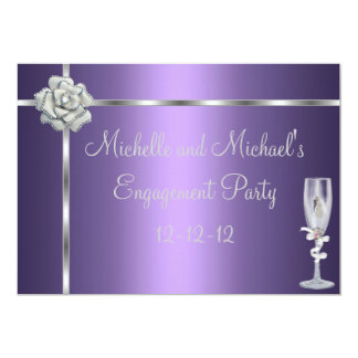 Engagement Elegant Purple Silver White Flower 13 Cm X 18 Cm Invitation Card