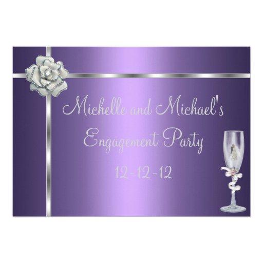Engagement Elegant Purple Silver White Flower Custom Invitations