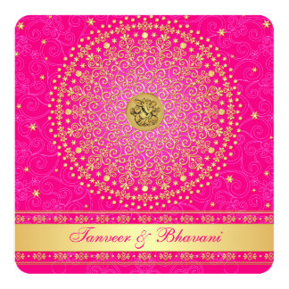 Engagement Invitation | Ganesh Pink Gold Scrolls