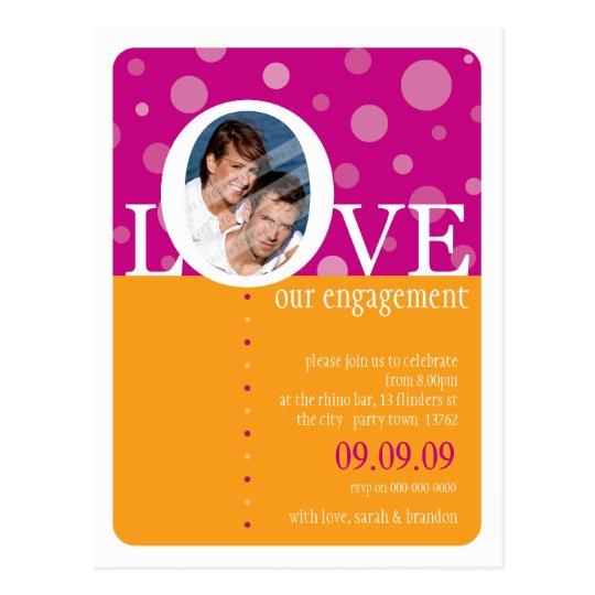 ENGAGEMENT INVITATION :: LOVEbubbles 3 Postcard