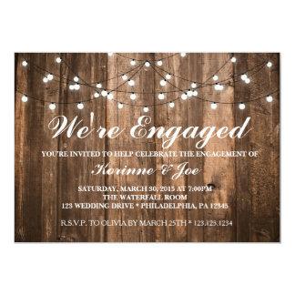 Engagement Invitation Wood and Lights