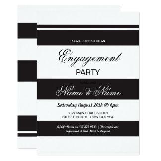 Engagement Invitations Stripe Black & White