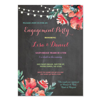 Engagement Party Chalkboard Floral Red Invitation