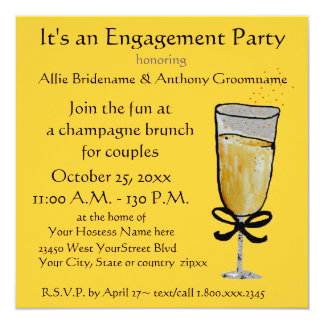 Engagement Party Champagne Toast 13 Cm X 13 Cm Square Invitation Card