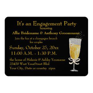 Engagement Party Champagne Toast peach ribbon 13 Cm X 18 Cm Invitation Card