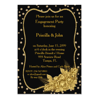 Engagement Party, cold roses & gold foil confetti 13 Cm X 18 Cm Invitation Card