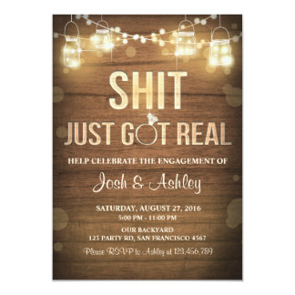 Engagement Party Couples shower Rustic Got real Card