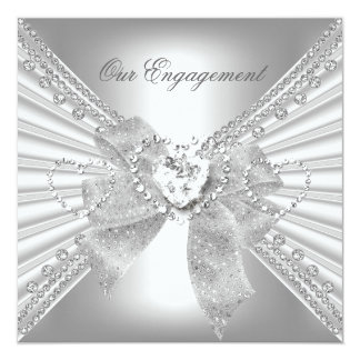 Engagement Party Diamond Heart White Silver Bow 13 Cm X 13 Cm Square Invitation Card