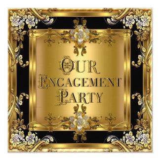 Engagement Party Elegant Gold Floral Jewel Black 2 Card