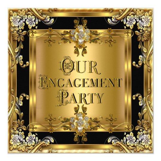 Engagement Party Elegant Gold Floral Jewel Black 2