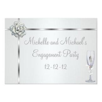 Engagement Party Elegant Silver White Flower Trim 13 Cm X 18 Cm Invitation Card