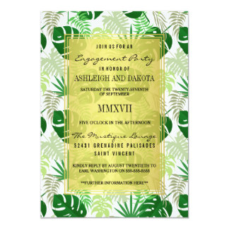 Engagement Party | Exotic Green Tropical Leaves 13 Cm X 18 Cm Invitation Card