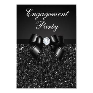 Engagement Party Faux Black Sequins Black Bow Card