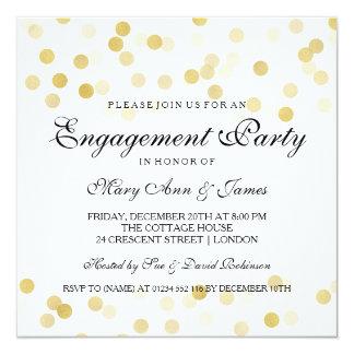 Engagement Party Faux Gold Foil Glitter Lights 13 Cm X 13 Cm Square Invitation Card