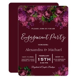 Engagement Party Floral Marsala Burgundy Card