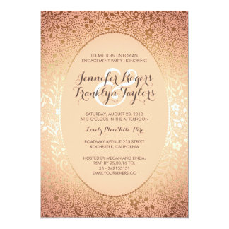 Engagement Party Gold Floral Vintage Peach Card