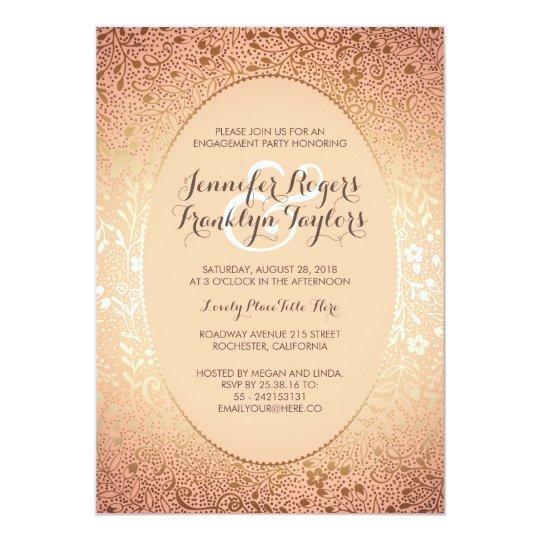 Engagement Party Gold Floral Vintage Peach Card