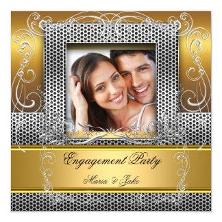 Engagement Party Gold Silver Photo 13 Cm X 13 Cm Square Invitation Card