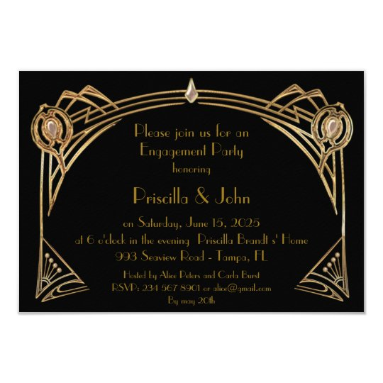 Engagement Party, great Gatsby, art-deco, black Card