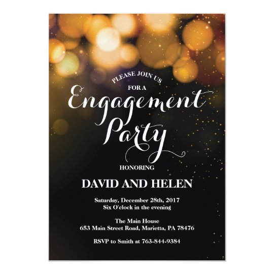 Engagement Party Invitation Card Gold Glitter