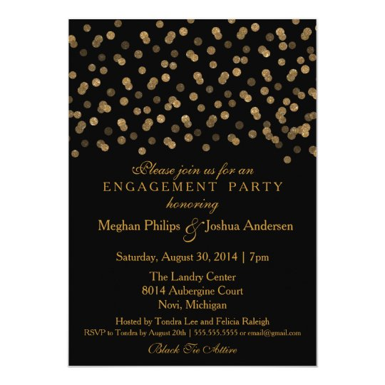 Engagement Party Invitation Gold Glitter Confetti