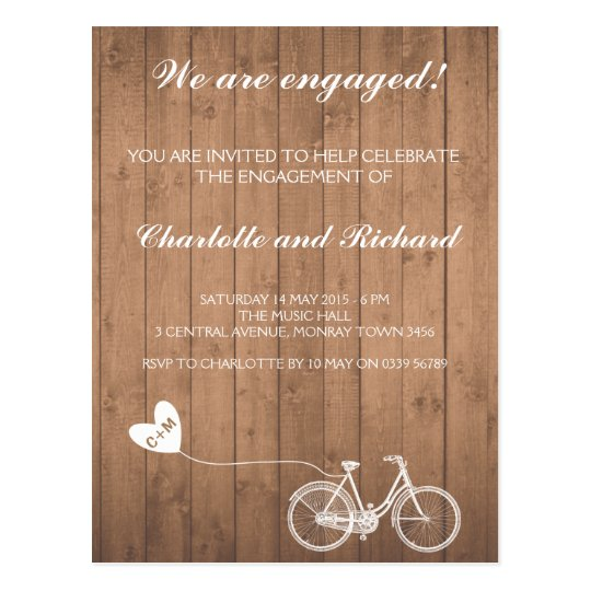 Engagement party invitation romantic bike postcard