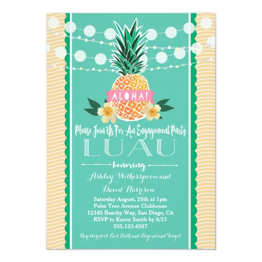Engagement Party Luau Hawaiian Invitation