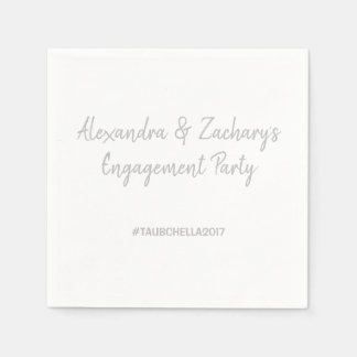 Engagement Party Napkins with Hashtag Silver Disposable Napkin