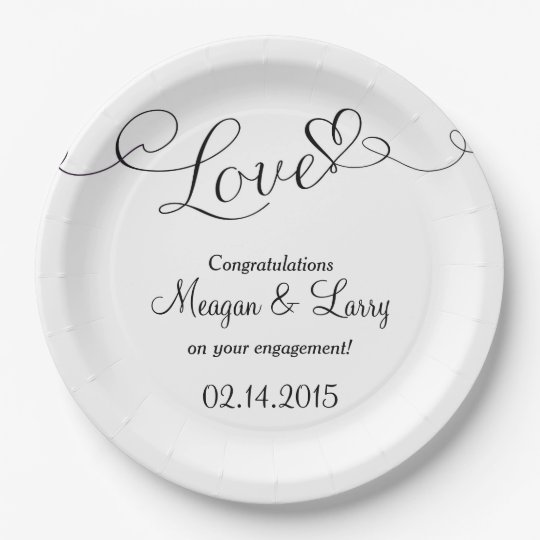 Engagement Party Plates - Love Script