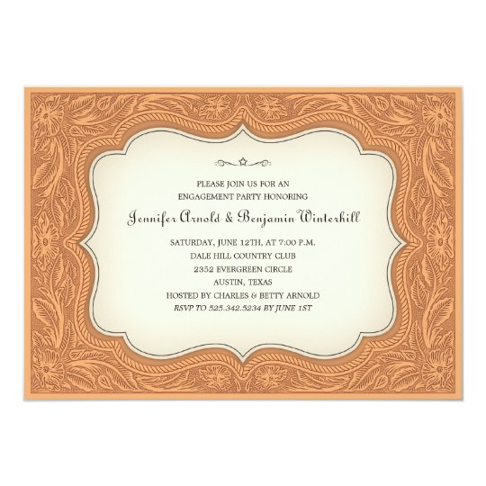 Engagement Party Ranch Light Brown Invitations