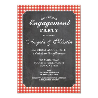 Engagement Party Red Check Chalk Invite
