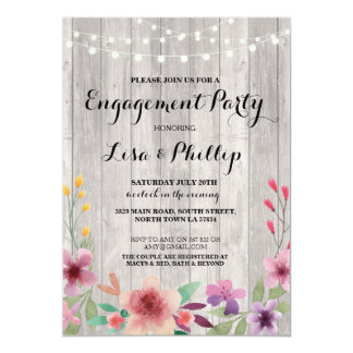 Engagement Party Rustic Shower Floral Invite