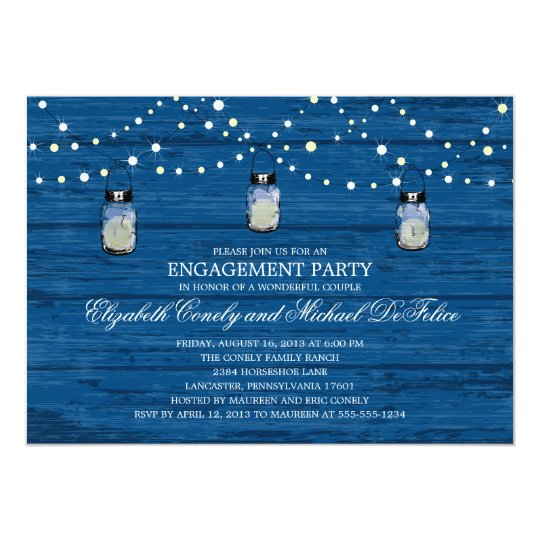 Engagement Party Rustic Wood Mason Jar and Lights