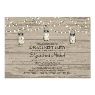 "Engagement Party Rustic Wood Mason Jar and Lights 5"" X 7"" Invitation Card"