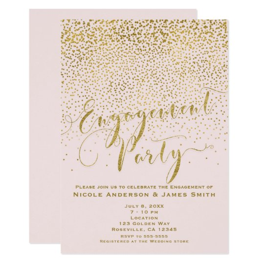 ENGAGEMENT PARTY Shower Blush Pink & Gold Confetti