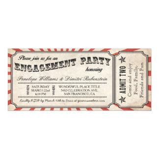 """Engagement Party Vintage Ticket Invitations 4"""" X 9.25"""" Invitation Card"""