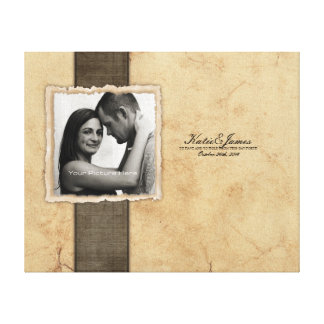 Engagement Photo Rustic Vintage Wedding Stretched Canvas Prints
