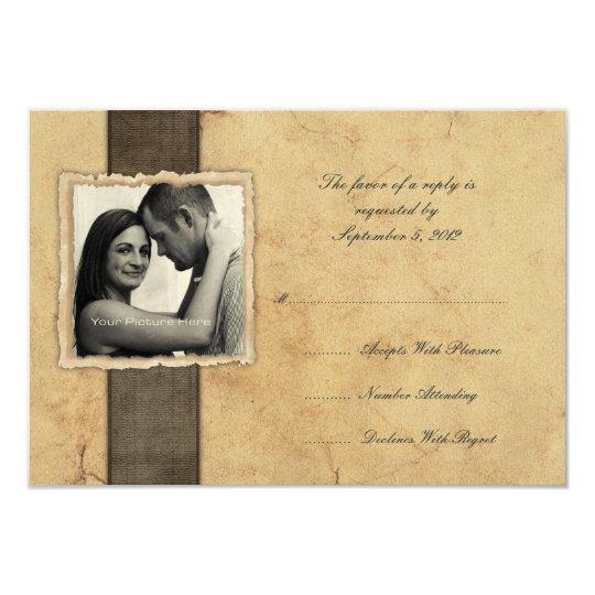 Engagement Photo Vintage Wedding RSVP Card