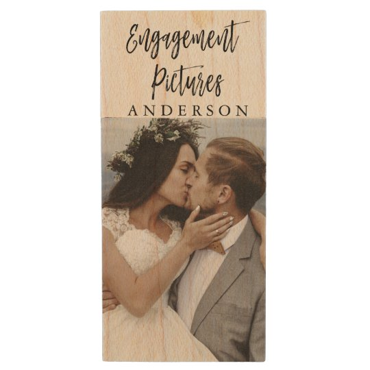 Engagement Pictures Typography Wedding Photos USB Wood USB 2.0 Flash Drive