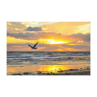 Engagement Proposal Sunrise on the Beach Canvas Stretched Canvas Print