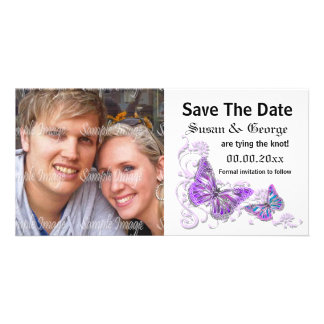 Engagement purple blue photo PERSONALIZE Card